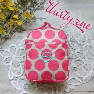 💗Thirty-One pink polka dot personalized lunch bag